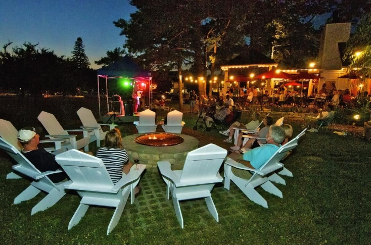 Gibraltar Grill Fire pit and Entertainment area in Fish Creek wi