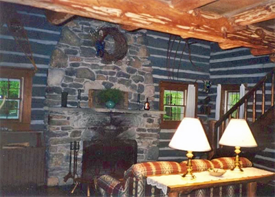 Eagle Living Room and Fireplace Cottage at Pioneeer Acres