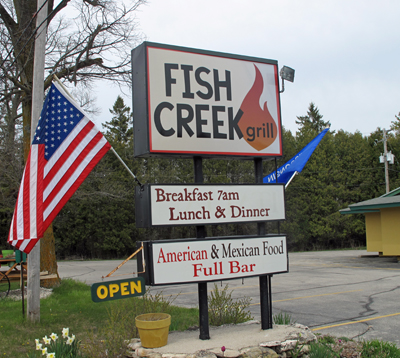 Fish Creek Grill sign